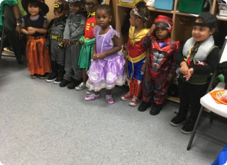 cute children on their costumes